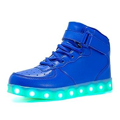 Voovix Kinder Litch Schuhe Blinkende Sneaker Led Leuchtende High-top USB Aufladen Shoes für Jungen und Mädchen(Blau01,EU40)