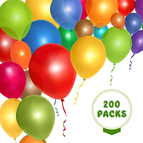 12 Inches 200PCS Assorted Color Party Balloons with Balloons String for Wedding Party Baby Shower Hen Party Anniversary Decorations -