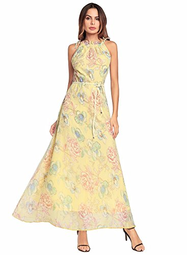 Women Summer Sleeveless Chiffon Floral Print Halter Maxi Skirt Dress, Peony Yellow, Medium (Long Dress Peony)