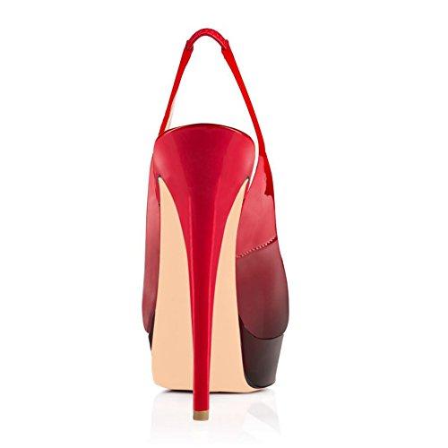 Arc-en-Ciel peep toe zapatos de plataforma ligeras sandalias de tacón alto de las mujeres de espalda Gardient