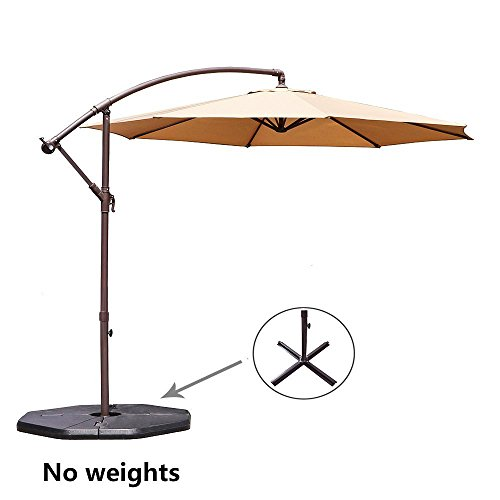 Le Papillon 10-ft Offset Hanging Patio Umbrella Aluminum Outdoor Cantilever Umbrella Crank Lift, Beige by Le Papillon