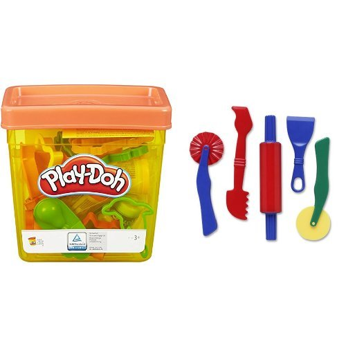 Play-Doh Fun Tub and Dough Tools - 5 Piece Assortment Bundle