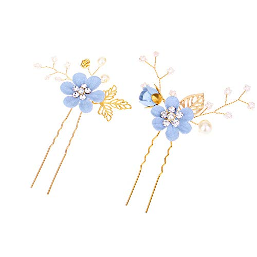 Mondora Bridal Hair Pin Comb Blue Flower Leaf Filigree Handmade DIY Women's Austrian Crystal Gold-Tone Clear