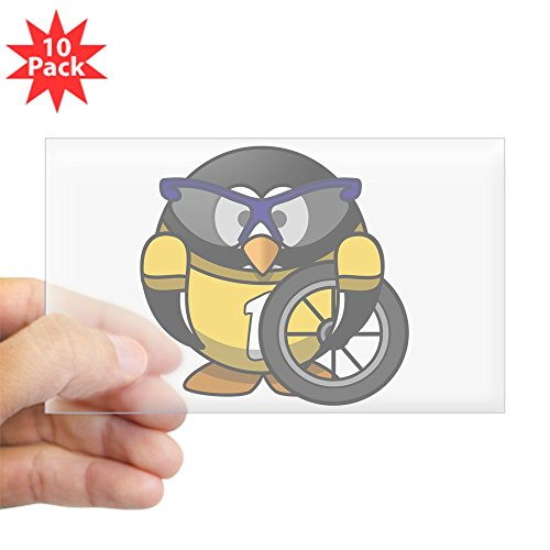 Sticker Clear (Rectangle 10Pk) Little Round Penguin - Cyclist in Yellow Jersey
