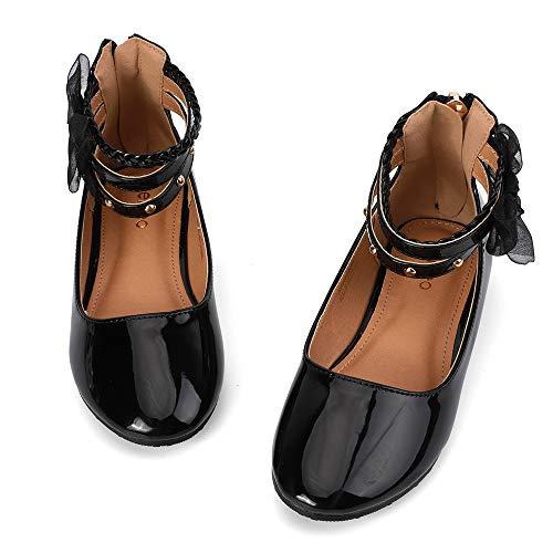 nerteo Grils Comfort Ballet Flats Trendy Princess Dress School Shoes with Memory Foam Black 11 M US Little Kid