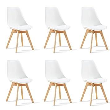 Designetsamaison Lot De 6 Chaises Scandinaves Blanches Bjorn