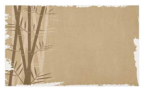 Lunarable Camel Color Doormat, Exotic Bamboo Plant with Grungy Look Zen Spa Feng Shui Theme Asian Nature, Decorative Polyester Floor Mat with Non-Skid Backing, 30 W X 18 L inches, Camel Brown