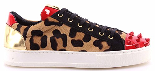 Botticelli Damen Schuhe Sneakers Roberto Limited Pony Leopard Gold Made in Italy