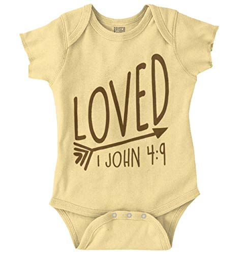 bb52aaf4d Brisco Brands Loved Bible Verse Christian New Baby Gift Romper Bodysuit