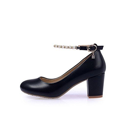 Allhqfashion Dames Pu Kitten Hakken Ronde Dichte Teen Solide Gesp Pumps-schoenen Zwart