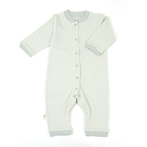 (Tadpoles Organic Cotton Footless Snap Front Romper, Sage, 0-3 Months)