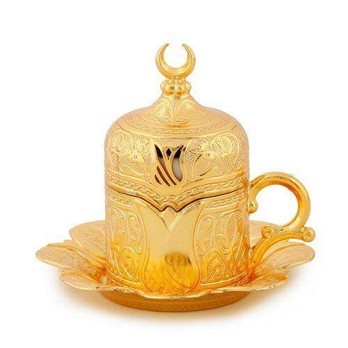 ( SET of 6 )Turkish Greek Arabic Coffee Espresso Serving Cup Saucer SET (gold) color by Soho Concept (Image #3)