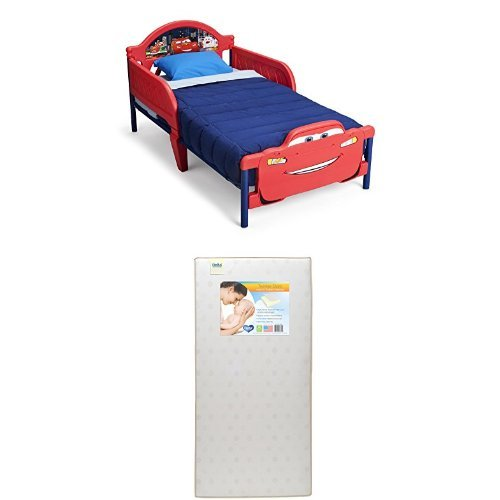 Delta Children 3D-Footboard Toddler Bed, Disney/Pixar Cars  with Twinkle Stars Crib & Toddler Mattress