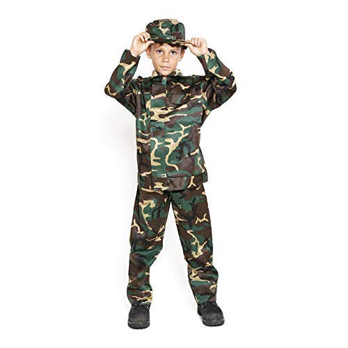 Kids Camo Camouflage Army Military Soilder Jumpsuit Halloween Costume - Woodland-Long-L]()