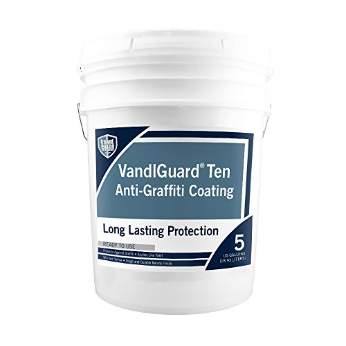 Rainguard International VG-7006 Vandlguardten Anti-Graffiti 5 gal Pail – Painted & Unpainted Concrete, Block, CMU, Brick, EIFS, Stucco, Wood & Painted Metal, Clear, Bottle by Rainguard International