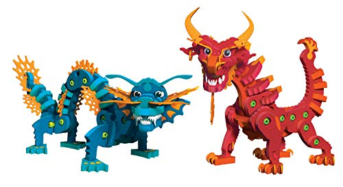 - Bloco Toys Aqua & Pyro Dragons | STEM Toy | Legendary Mythical Creatures | DIY Building Construction Set (235 Pieces)