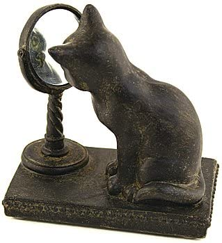 Resin Cat with Mirror Figurine