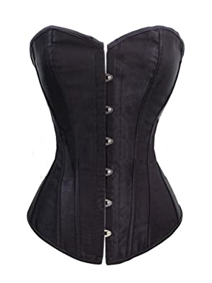 Chicastic Black Satin Sexy Strong Boned Corset Lace Up Bustier Top - Also White & Red