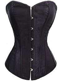 201c9a1248 Black Satin Sexy Strong Boned Corset Lace Up Overbust Bustier Bodyshaper  Top - Also White
