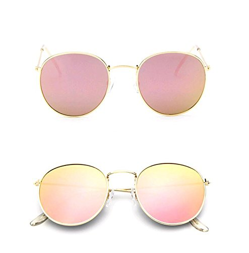GAMT Vintage Round Aviator Sunglasses Color Film for Women with Metal Frame