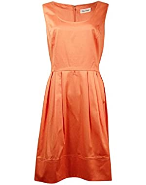 Calvin Klein Womens Pleated Solid Casual Dress!