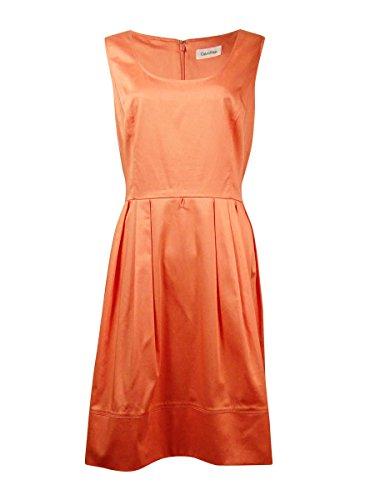 (Calvin Klein Women's Solid Scoop Neck Cotton Blend Belted Dress (14, Peach))