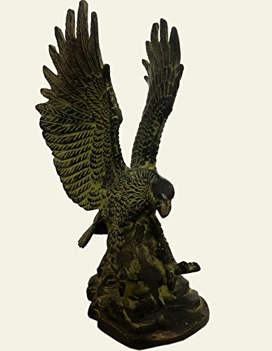 Antiques World Vintage Brass Moustaches Flying Eagle Showpiece Figurine Home Décor Wings Statue Fantasy Magic Fine Collectible Art Sculpture Metal Abstract Creative Landing Eagle Statue AWUSAAS 017 (Metal Landing Eagle)