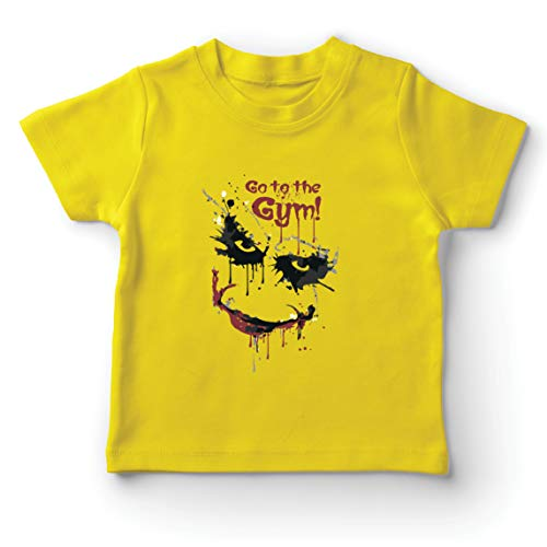 lepni.me Kids T-Shirt Go to The Gym Scary Face Clown Motivational Workout (7-8 Years Yellow Multi Color) (Scary Stories To Tell In The Dark Artist)