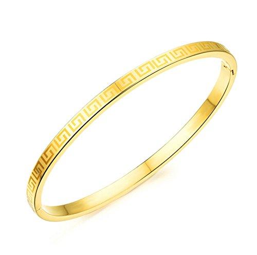EoCot Gold Plated Bracelet Polished Circle Greek Key Gold Bangle Bracelet for Women