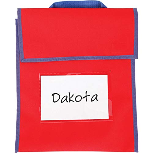 Really Good Stuff Store More Medium Book Pouches - Send Home Books and Homework in Durable Fabric Book Bag - Stitched-On Handle, Clear Name Tag Pocket, Primary Colors, 10''x1''x12'' (Set of 4)