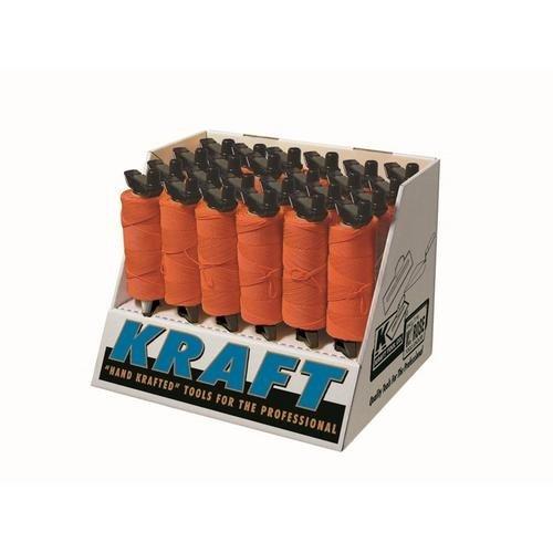 Kraft Tool Company BC346D, 24 Pcs. of 500' Fluorescent Orange Braided Mason's Line in EZ-Winder Display