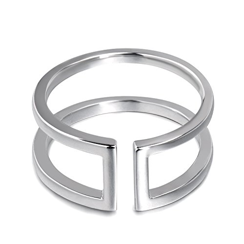 Silver Double Lines - Fonsalette Open Bar Ring Sterling Silver Double Line Bar Ring Parallel Bar Ring (Silver, 7)