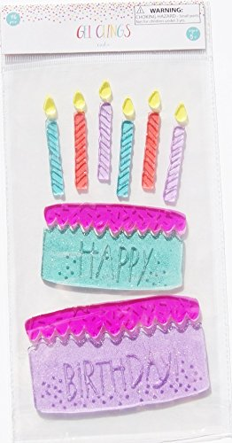 Party Decor Gel Clings - Birthday Cake - 16 Piece