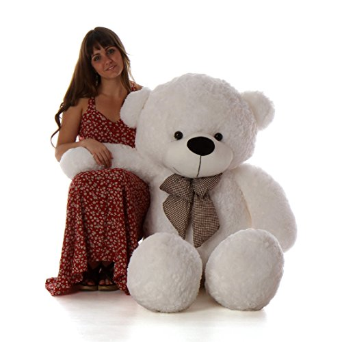 Cuddle White Bear - Giant Teddy 5 Foot Life Size Teddy Bear Huge Stuffed Animal Toy Huggable Cute Cuddles Bear (Snow White)