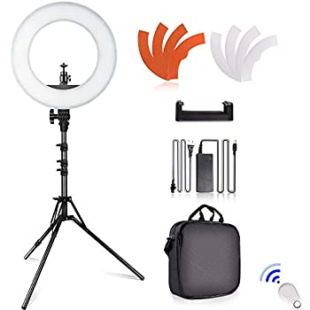 Samtian Led Ring Light 14 Inches Outer Youtube Light 180 Dimmable Led Lighting Kit With 2m Light Stand Cradle Head Phone Holder For Video Shooting