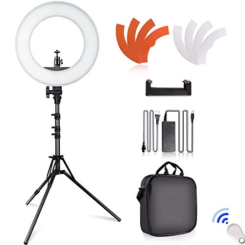 Studio Heads Flash (SAMTIAN LED Ring Light 14 inches Outer YouTube Light 180 Dimmable LED Lighting Kit with 2M Light Stand, Cradle Head, Phone Holder for Video Shooting, YouTube Video, Portraiture, Makeup)