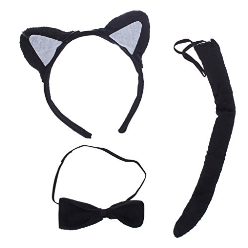 Lux Accessories Halloween Black Cat Ear Tail Bow Accessories Costume Set (3PCS) (Twin Girl Costumes)