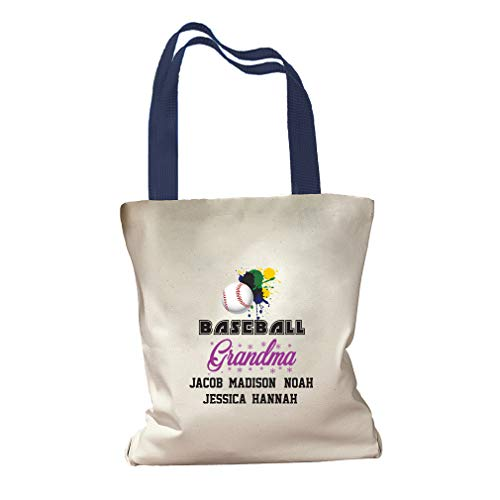 Personalized Custom Text Grandma Baseball Ball Grandkids Cotton Canvas Colored Handles Tote Bag - Royal Blue