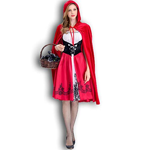 FOLOIN Women's Little Red Riding Hood Halloween Cosplay Costume Make Up Party Dress