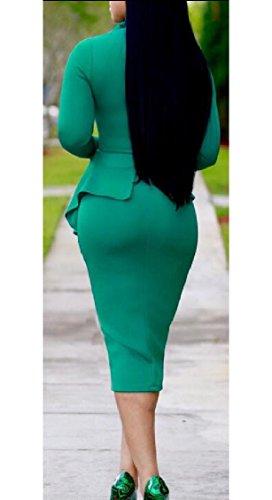 Sleeve Slim Long Fit Pieces Peplum Green Two Fake Womens Dress Pencil Jaycargogo qwSZ5Iw