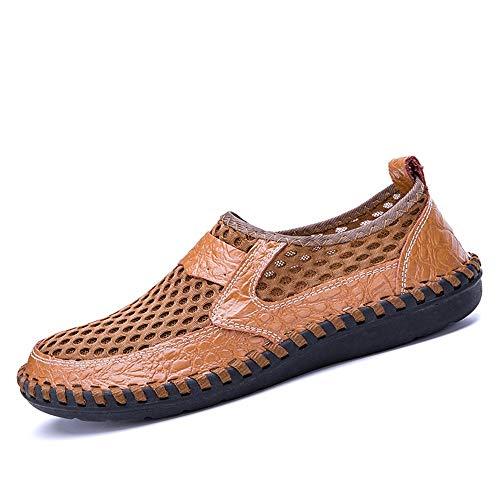Mocasines de conducción Marrón Planos Suave al Qiusa Color 45 de tamaño Libre Zapatos de tamaño EU Hombres Sole para Malla Aire Sandalias Gran nHHFxOw