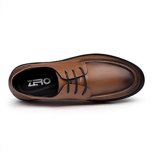 Zro Mens Modern Snörning Oxford Platta Tillfälliga Läderskor Brun