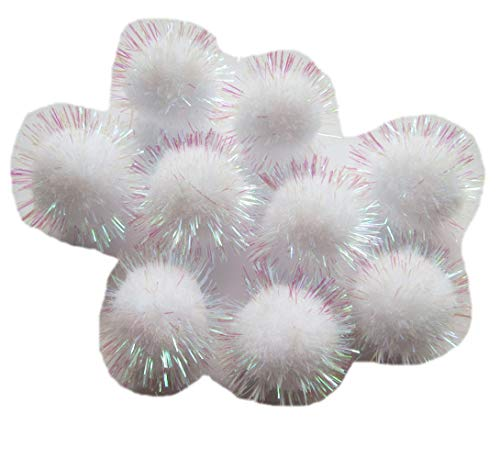 YYCRAFT 50pcs Glitter Tinsel Pom Poms Sparkle Balls for DIY Craft/Party Decoration/Cat Toys(25mm,White Color) - Christmas Ball Ornament Tinsel