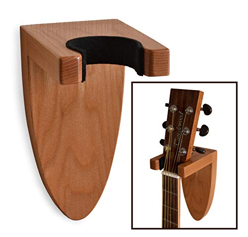 Guitar Holder Wall Mount Ash Wood Wooden Guitar Hanger Hook Stand Rack Guitar Hanger for Electric Classic Acoustic and Bass Guitar Musical Instruments Hardwood (Brown)