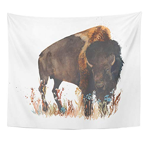 Emvency Tapestry Artwork Wall Hanging American Bison Buffalo Bull Wild Animal Watercolor Painting Black 50x60 Inches Tapestries Mattress Tablecloth Curtain Home Decor -