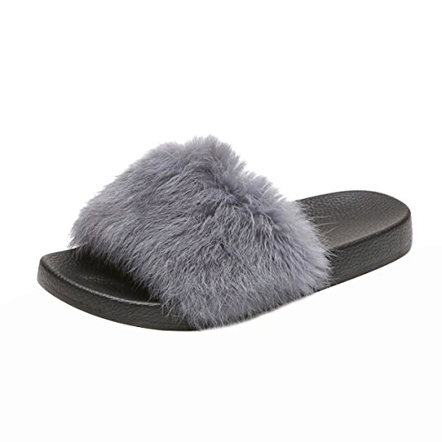 JACKY LUYI Women Faux Fur Slides Slip On Furry Flat Sandals Gray Size 8 (Furry Slip Ons)