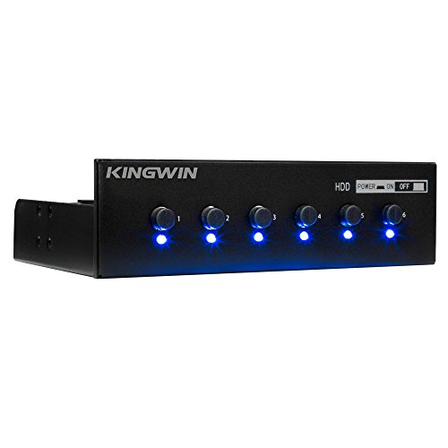 Kingwin Hard Drive Power Switch Module for 2.5 inch/3.5 inch SATA HDD/SSD.  Optimized for SSD, Power On or Off HDDs as Wish, Controls up to Six HDDs, and Provide Longevity to Your Hard Drives