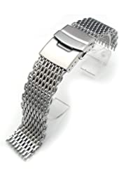 """19mm Ploprof 316 Reform Stainless Steel """"SHARK"""" Mesh Milanese Watch Band, Brushed, AB"""