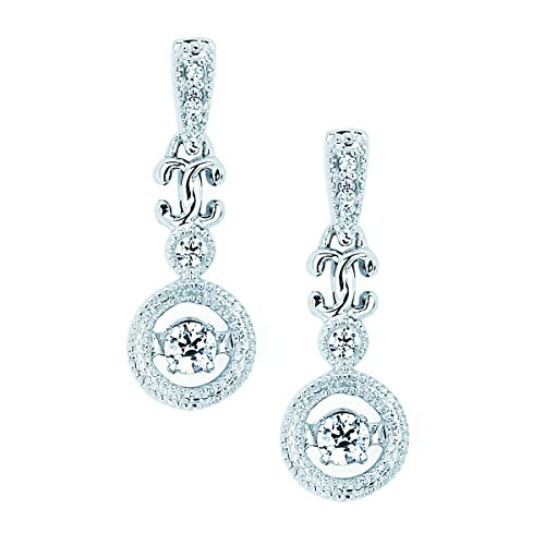 14K White Gold Dancing Diamond Dangle Earrings (1/5 cttw, I Color, I1 Clarity) ()