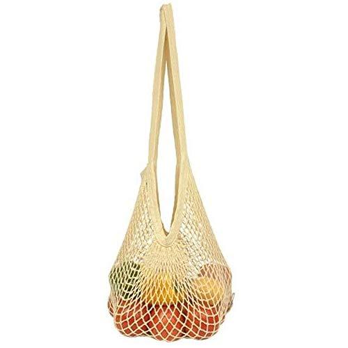 3c61190a1ea6 Flyou Portable Reusable Mesh Cotton Net String Bag Organizer Shopping Tote  Handbag Fruit Storage Shopper NEW (beige)
